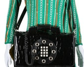 Original Dallas Telephone Purse Working Phone Lady Gaga 70s Purse 1970s Purse Black Patent Lather Touchtone Phone