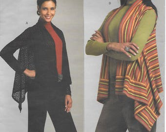 Vogue 1124 UNCUT Misses' Cardigan and Vest All Sizes Scarf Corners Long Sleeves