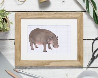 Hippo print, watercolour hippo illustration, hippopotamus, mini print, mounted print, watercolour painting, animal art