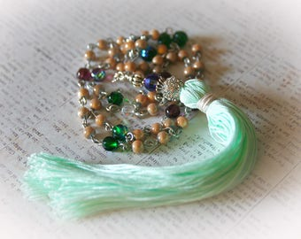 Mint Green and Purple Bling Tassel Necklace. Boho Chic Jewelry. Long Bohemian Beaded Necklace