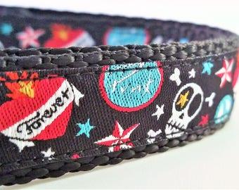 Punk Rock Dog - Dog Collar, Adjustable, Tattoo, Flash, Skulls, Handmade, Hearts, Dogs, Buckle Collar