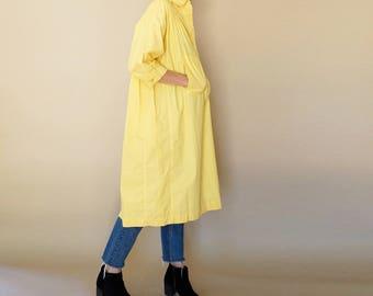 vintage I. MAGNIN canary OVERSIZED tunic shirt dress S-L