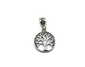 NEW Round Double Sided Tree of Life - Slide On Charm - Fits Standard European Charm Bracelets