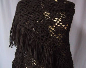 Black Shawl Crocheted - Handmade - Warm Wrap - Glamorous Coverup - Ready to Ship - Lovely Gift - Classic Fashion Accessory - Christmas Gift