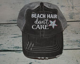 Beach Hair don't Care Distressed Trucker Hat, Womens Hat, Beach Hat, Embroidered Hat