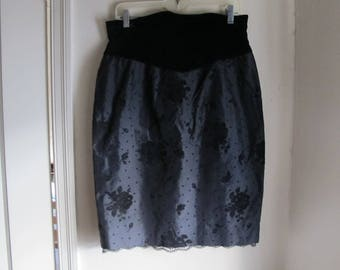 80s Black Flocked Velvet Floral ESCADA Skirt with Roses