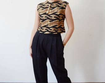 1960s Black And Gold Metallic Boxy Crop Top  - S