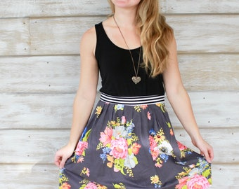 Floral Skirt, Cotton Skirts, Pleated Skirts, Christmas Gift Idea, Gifts for Her, Fashion Skirts, Knee Length Skirt, Cupcake Skirt, A Line