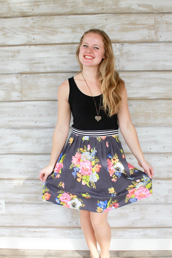 Floral Art Print Skirt