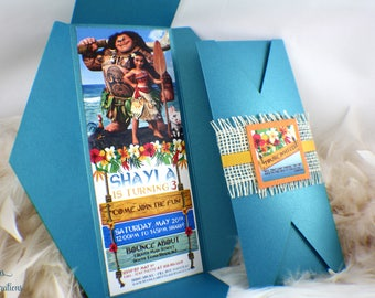 Moana Birthday Invitation | Maui | Girl | Polynesian | Hawaiian | Tropical | Blue | Yellow | Orange | Flowers | Burlap | Sea | Beach