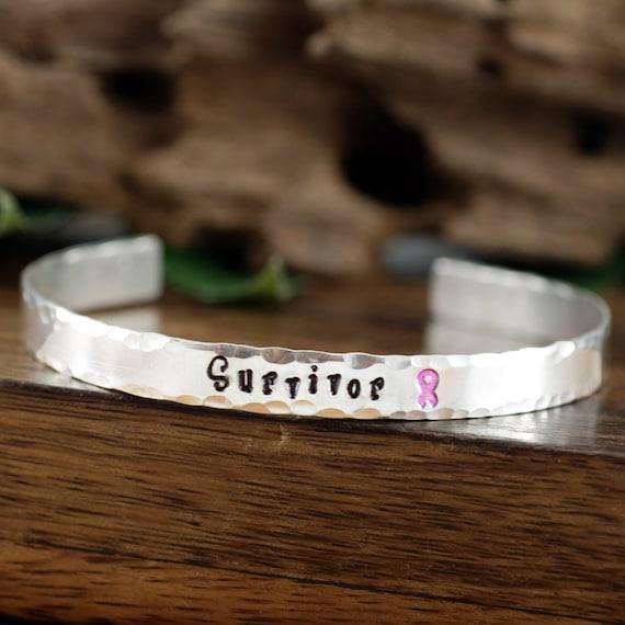 Survivor Cuff Bracelet, SURVIVOR Gift, Personalized Bracelets, Cancer Awareness, Inspirational Jewelry, Custom Bangle Bracelets,Gift for her
