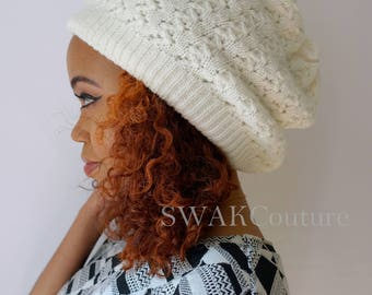 Slouchy Beanie Hat Knit Ribbed Beanie Womens Cap Thick Soft Tam Satin Lined Cap Winter White or Choose Color