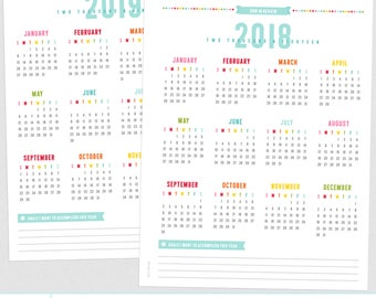 2018-2019 Year in Review Calendars - Everyday Planner Pages - FIVE Sizes - PDF Printable Organizer Inserts