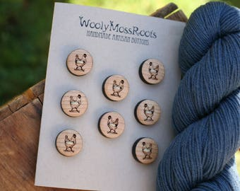 8 Wooden Chicken Buttons- - Wooden Buttons- Eco Craft Supplies, Eco Knitting Supplies, Eco Sewing Supplies