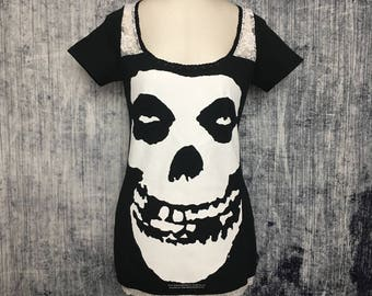 Misfits Women's T-Shirt // Reconstructed Band T-Shirt // Size Small // Punk Horror Goth Alternative Skull Apparel