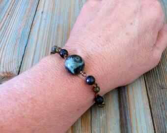 Fossil Jasper Brass Bracelet ~ Bohemian Wire Wrapped Gemstone Bead Bracelet ~ Earthy Style Jewelry for Women ~ Layering Bracelets for Gifts