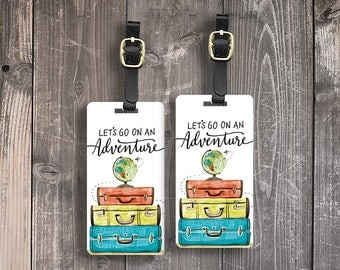 Luggage Tags Lets go on an Adventure Watercolor Suitcase Globe Metal Luggage tag  Printed Custom Info Single Tag or Set Available