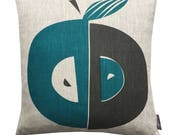 Apple cushion in teal and grey on natural or white linen