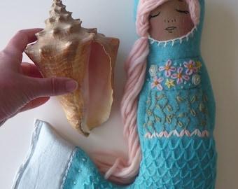 Mermaid Doll Matryoshka Blue Wool Waldorf
