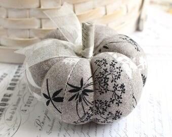 Black and White Botanical Cotton Pumpkin Pincushion Fall Decor Pumpkin