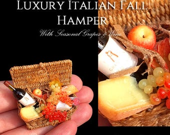 Luxury Italian Fall Hamper - With a Wonderful Artisan Made Basket - fully Handmade Miniature Halloween Dollhouse Food in 12th scale.