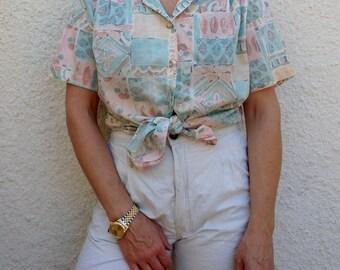 Womens Blouses Vintage Tropical Print
