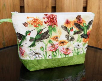 Quilted Makeup Bag, Wristlet, Clutch, Ruby-throated Hummingbirds