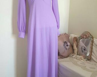 vintage 70s dress, long lilac dress, fitted slimming, gorgeous gathers, 70s purple maxi dress, original vintage label