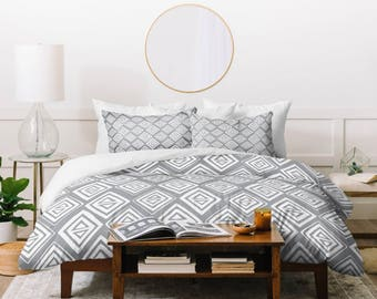 Gray Geometric Duvet Cover // Bedding // Twin, Queen, King Sizes // Home Decor // Diamond In The Rough Design // Modern Geometric // Bedroom