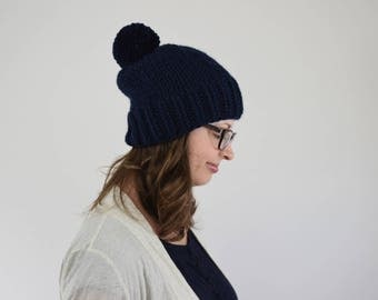 Pom Pom Beanie // Knit Pom Pom Hat // Hats for Women // Pom Pom Hats for Kids // Navy Hat