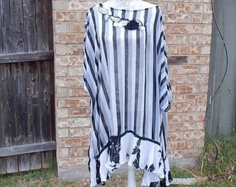 Altered Gray and Black Sheer Tunic, Altered Couture, Size 18, Ruffled Pleated Bottom, Shabby Chic, Romantic Dress Blouse, Romantic Tunic
