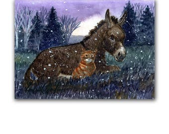 Donkey Cat Flurries Snow Nursery Toddler LLMartin Original Watercolor Painting  Country New Man Free Shipping USA