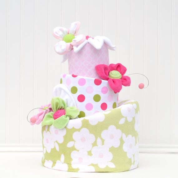 Diaper Cake Pink And Green Baby Shower Floral Diaper Cake Green