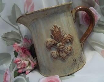 MINT Gorgeous Pottery Fleur De Lis Country French Pitcher  - Home Decor - Shabby - Farm House - Vintage
