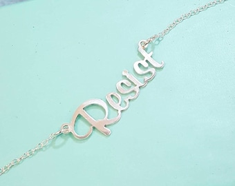 Resist Necklace Resistance - Custom Name Necklace - Personalized Sterling Silver