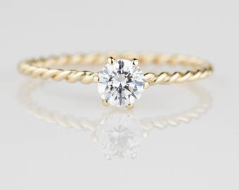 4mm .25 carat Natural White Diamond 14k Gold Mira Engagement Ring - Solid 14k White or Yellow or Rose Gold - Tiny Delicate Rope Twist Ring