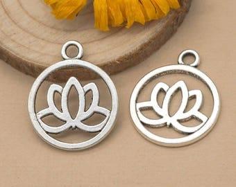 Lotus Charm, 12pcs, 20mm,   Lotus Pendant, Antique Silver,   Lotus Flower -C868