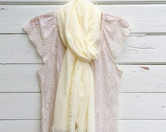 Cream Cotton Scarf, Cotton Gauze Scarf, Summer Scarf, Lightweight Scarf, Cotton Summer Scarf, Gift Idea