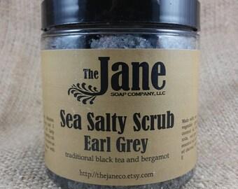 Earl Gray Sea Salt Body Scrub - Essential Oil - Vegan Friendly - Relaxing Bath Scrub - 12oz