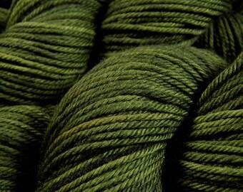 Hand Dyed Yarn - Worsted Weight Superwash Merino Wool Yarn - Moss Tonal - Indie Dyed Hand Knitting Yarn, Worsted Yarn, Olive Green