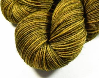 Hand Dyed Yarn - Sport Weight Superwash Merino Wool Yarn - Olive Oil Tonal - Tonal Knitting Yarn, Artisan Sock Yarn, Sport Yarn, Indie Dyed