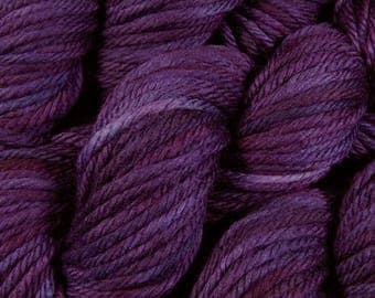 Hand Dyed Yarn - Bulky Weight Superwash Merino Wool Yarn - Blackberry Tonal - Thick Chunky Knitting Yarn, Purple, Indie Dyed Yarn