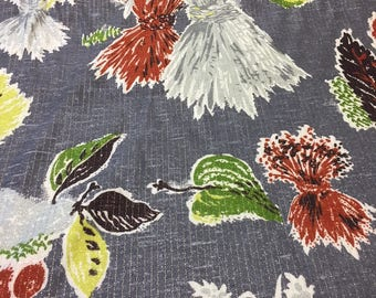 """50s Hollywood Modern//""""Thankful Harvest """"//Haystacks, Apples, Leaves//Charcoal Ground//Woven Shantung with Lurex"""