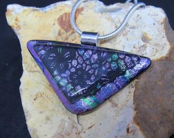 Purple Green Dichroic Glass Pendant - Dichroic Fused Glass Pendant - Dichroic Fused Glass Jewelry - Fused Glass UK - Fused Glass Pendant