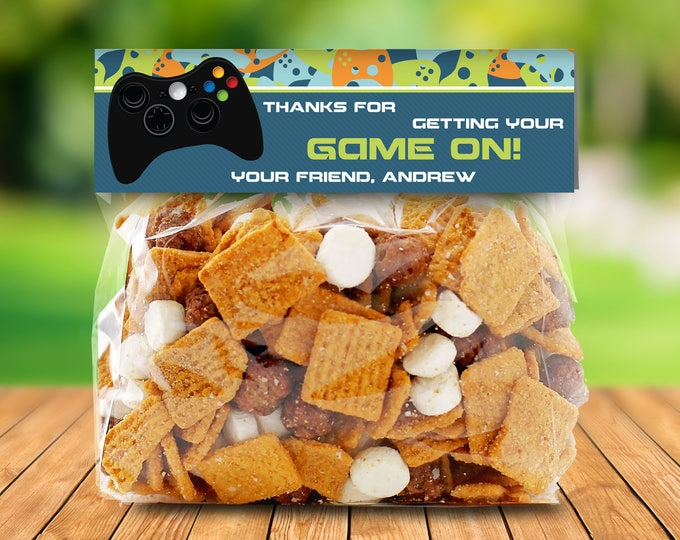 Video Game Favor Bag Toppers - Gamer Birthday Party, Blue Camo, TreatBag Toppers | Editable INSTANT Download Printable PDFs
