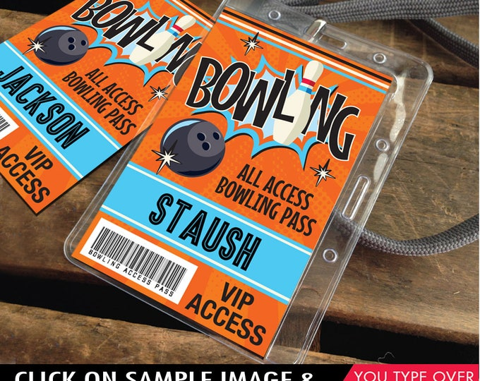 Bowling Party ID Badges - Bowling Bash, Bowling Birthday, All Access Badge, Orange/Blue   INSTANT Download Printable PDFs
