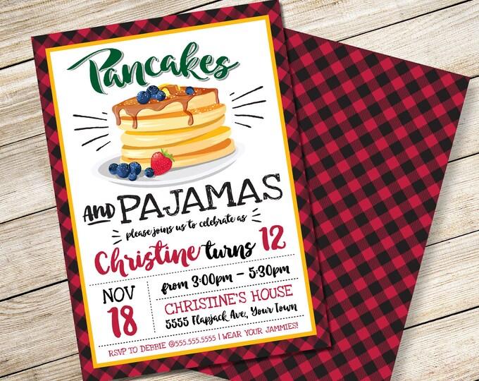 Pancake & Pajamas Invitation - Pancake Party, Lumberjack, Breakfast with Santa, Self-Editing | DIY Editable Text INSTANT DOWNLOAD Printable