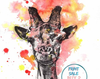 Giraffe Art Print from Original Watercolor Painting Print 8x10 in. print Kids Room Wall Art Nursery Decor Art Giraffe Nursery Wall Decor
