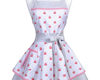 Womens Ruffled Retro Apron , Spicy Garden Gray Red Floral with Gingham Womans Cute Flirty Pinup Kitchen Apron to Embroider or Monogram (DM)