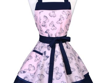 Womens Ruffled Retro Apron / Butterflies Navy on Pink Blush Womans Cute Flirty Vintage Pinup Kitchen Apron to Personalize or Monogram (FM)